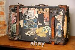 Vintage Antique Leather Luggage Suitcase Train Case Travel Stickers with Key old