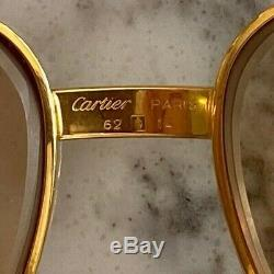 Vintage Authentic Gold Cartier Sunglasses Aviator Glasses Red Leather Case 62 14