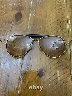 Vintage B&L Ray Ban Bausch & Lomb Aviator Leather withCase Sunglasses Case Frames
