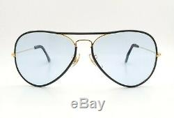Vintage B&L Ray Ban Bausch & Lomb Blue Changeable 58mm Aviator Leathers withCase