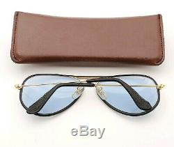 Vintage B&L Ray Ban Bausch & Lomb Blue Changeables 58mm Leather Aviator withCase