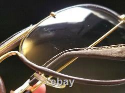 Vintage B&L Ray Ban Bausch & Lomb Brown Changeables Leather Aviator 58mm withCase