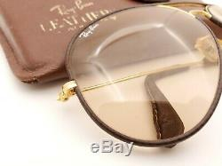 Vintage B&L Ray Ban Bausch & Lomb Brown Changeables Leather Aviator 62mm withCase