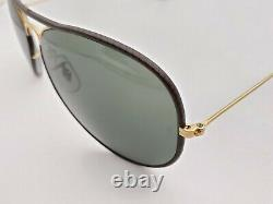 Vintage B&L Ray Ban Bausch & Lomb G15 Gray Aviator Brown Leather 62mm withCase