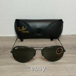 Vintage Bausch & Lomb B&L Ray-Ban USA 58 14 Aviator Sunglasses w Case Black