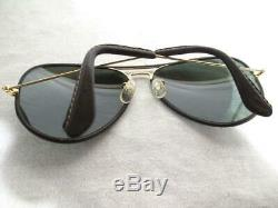 Vintage Bausch Lomb Ray Ban Wrapped Leather 62 14 Aviator Sunglasses WithCase