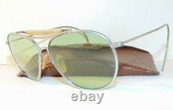 Vintage Baush & Lomb B&l Aviator Light Green Tint Sunglasses! With Leather Case
