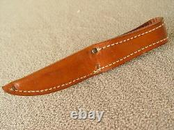 Vintage CASE 3 Chrome Fix Blade Knife with Leather Sheath 1940-1965 Rare