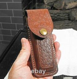 Vintage CASE XX 6165 folding blade knife UNUSED hunting knife leather sheath EX+