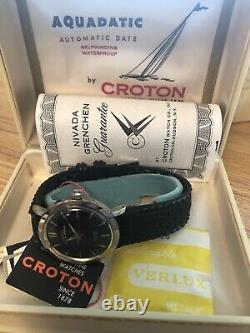 Vintage Croton Nivada Grenchen Aquadatic Men's Watch, With Original Case And Tag