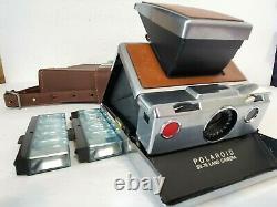 Vintage Folding Polaroid SX-70 Land Camera, Tan / Silver & Original Leather Case