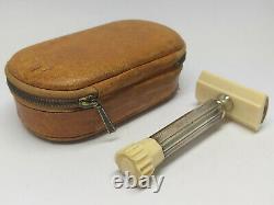 Vintage German APOLLO SAFETY RAZOR with Original Leather Box Case/ MIKRON MERKUR