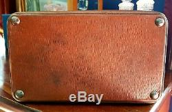 Vintage Gladstone Leather case bag Circa 1920s Monogrammed T. G. Medium