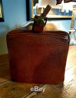 Vintage Gladstone Leather case bag. French original. Circa 1920. With key