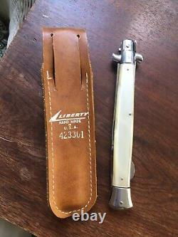 Vintage Italian stiletto Liberty lock back knife 13 open With Leather Case