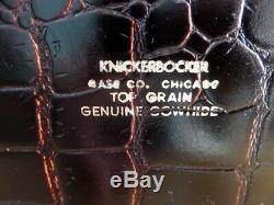 Vintage Leather Alligator Look Doctor Bag Knickerbocker Case Co Mahogany 1950s