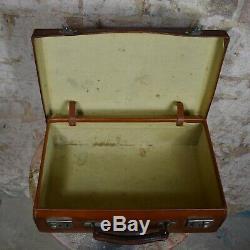 Vintage Leather Suitcase Travel Case WJ Arnold Vintage Prop Staging Adventure