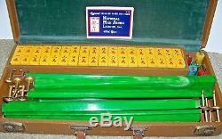 Vintage Mah Jongg 5 Rack Green Swirl 144 Bakelite Tile Set Original Leather Case