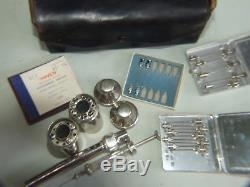 Vintage Medical Syringe Injections Black Leather Case S/Steel Containers 1930's