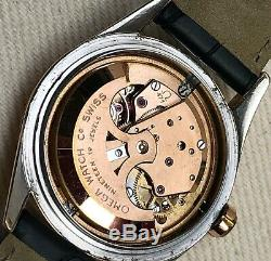 Vintage Omega Seamaster Original Waffle Dial 2802-1 Rose Case Wristwatch