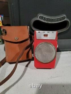 Vintage Original Working Sony Tr-610 6 Transistor Radio With Leather Case