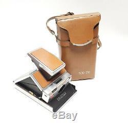 Vintage Polaroid SX-70 Land Camera & Original Leather Case 1970s Made in USA