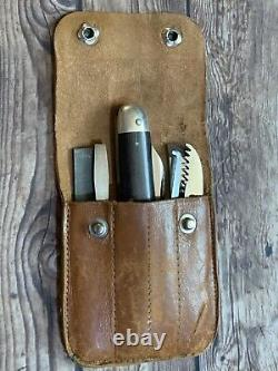 Vintage RARE NAPANOCH KNIFE CO. Pocket Knife Tool Kit in Leather Case