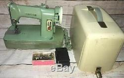 Vintage Singer Sewing Machine Green in Original Case Made in Canada 1950s 185J