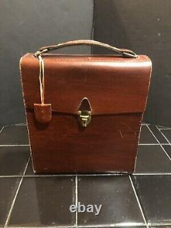 Vintage Travel Bar Leather Case Glass Liquor Decanter Scotch Bourbon Gin