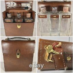 Vintage Travel Bar Leather Case Glass Liquor Decanter Scotch Bourbon Gin Set 3