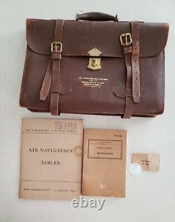 Vintage WW II USAAF Navigation Dead Reckoning Leather Brief Case Withextras