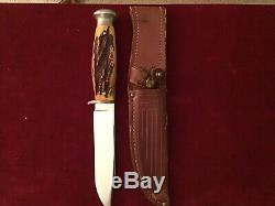 Vintage W. R. CASE & SONS Fixed Bld Stag HunterWith Leather Sheath. CASE on Tang