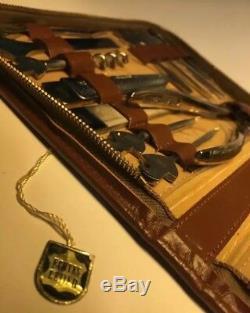 Vintage Western Germany Tool Kit Set Pocket Knife Handle Original Leather Case