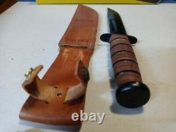 Vintage XL USA Original Ka-Bar Bowie Knife USMC combat tactical survival /case