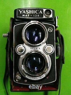 Vintage Yashica MAT-124 Camera with Original Leather Case Lens Cap & brochure