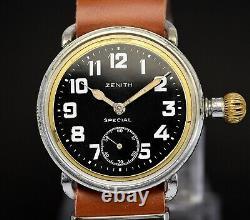 Vintage ZENITH SPECIAL Military Pilot, Oversize 41mm case, Black enamel dial ww1