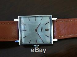 Vintage mens Longines rectangular manual wind all original rare steel case