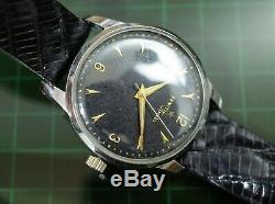 Vintage mens Zenith Sporto manual wind steel case black dial all original rare