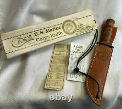 Vtg Case XX U. S. Marine Corps Stacked Leather Fixed Blade Knife In Box WithSheath
