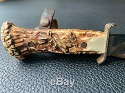 Vtg Decora Solingen Boy Scouts Hunting Trapper Knife Stag Handle Leather Case