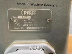 Vtg Portable PFAFF 262 Heavy Duty Sewing Machine Foot Pedal Original Case Tested
