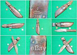 Vtg Sheath Blade Hunt CATTARAUGUS Knife #1 ORIG Geo L. Leather fold western case