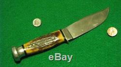 Vtg Sheath Blade Hunt KA-BAR UNION Knife Old Split Stag 1 ORIG buck leather case