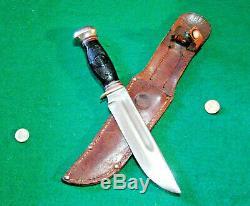 Vtg Sheath Hunt 6 Blade REMINGTON RH46 Antique Knife #1 DuPONT Orig Leather case