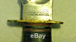 Vtg Sheath Hunt 8 Blade USA MARBLES Ideal WW2 Knife Alum Butt #1 Org fold case