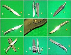 Vtg Sheath Hunt Blade GERBER 50's BIG Silver MAGNUM Knife ORIG leather fold case
