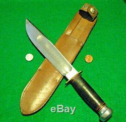 Vtg Sheath Hunt Blade USA WW MARBLES Ideal 12 Knife #1ORIG western leather case