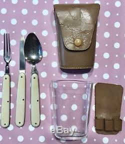 Vtg Solingen Vienna Travelers Folding Fork Spoon Knife Glass Cup with Leather Case