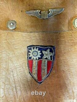 WW2 Leather Map Case Period Made -CBI Bullion Patch Flying Tigers Named