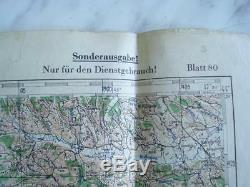 WWII ORIGINAL GERMAN LEATHER MAP CASE withLUFTWAFFE MAP